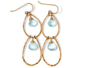 Blue Aquamarine Double Drop Hoop Earrings - Hammered 14k Gold Fill Double Layer Aquamarine Earrings