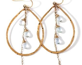 Aquamarine and Gold Hanging Chain Hoop Earrings - Pale Blue Aquamarine and 14k Gold Fill Teardrop Hoop - Blue Gemstone Hoop Earrings