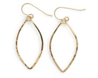 Small Leaf Shaped Earrings - 14K Gold Fill, Rose Gold Fill, or Sterling Silver Leaf Hoop Earrings - Hammered Drop Rose Gold Earrings