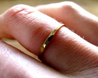 "Thin Gold Ring / Gold Stacking Ring Set / 14K Gold Filled Thin Hammered Ring / Gold Knuckle Ring / Gold Stack Ring Set / ""Pretty Girl Ring"""