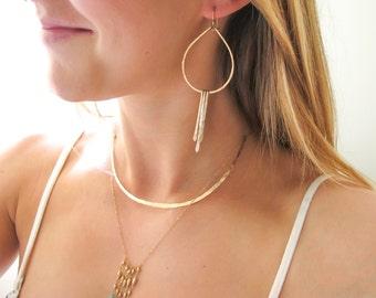 Teardrop Fringe Hoops - Gold Fringe Earrings - Handmade 14K Gold Filled or Sterling Silver Fringe and Hammered Tear Drop Earrings