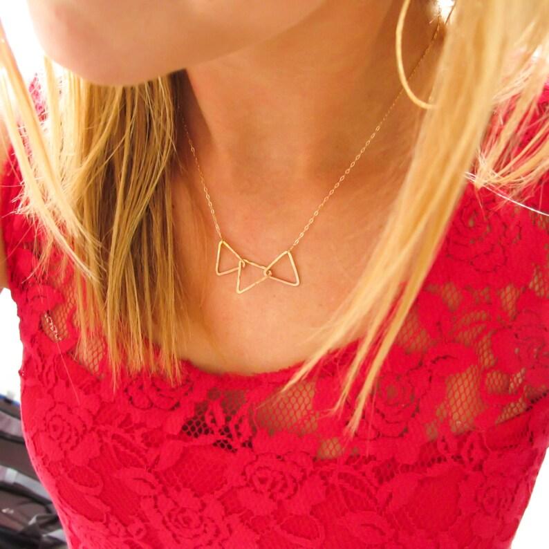 Three Triangle Necklace Gold Triangle Trio 14K Gold Filled Interlocking Triangle Necklace on 14K Gold Filled Chain Tri Delta Necklace