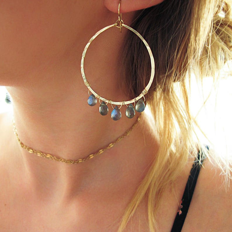 Labradorite Earrings  Labradorite and 14k Gold Fill Hoop Earrings  Gold Hoop Earrings  Labradorite Hoop Earrings  Hammered Gold Hoops