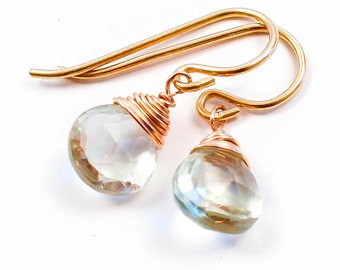 Green Amethyst Gemstone Drops - Small Pale Green Amethyst Earrings Wrapped with 14K Gold Filled, Rose Gold Filled, or Sterling Silver Wire