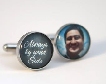 Groom gift, wedding gift for groom, Groom cufflinks, custom photo cuff links - Always by your side