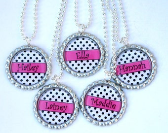 girl birthday party favors,kids personalized party favors - bottle cap necklace - hot pink black polka dot, Custom Name Color