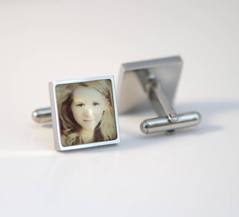 Custom photo gift Custom Photo Cuff links Square cuff links image 0