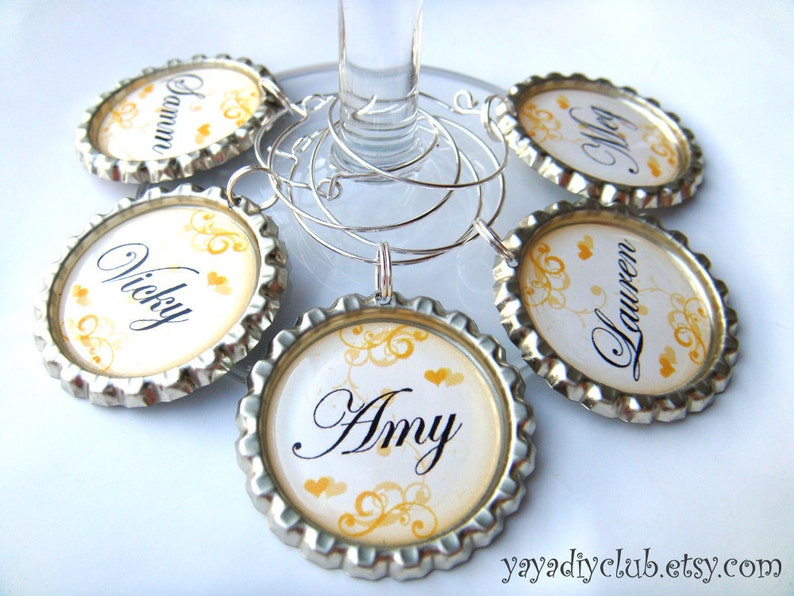 Bridesmaid Wine Glasses Charms for Bridal Shower Favors image 0