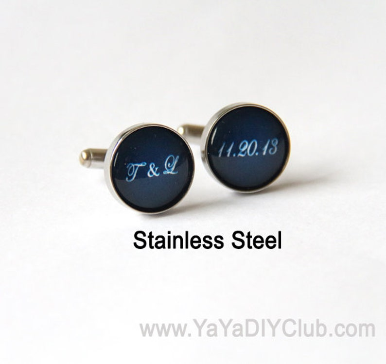 Personalized Cufflinks Navy Blue Cuff links Groom and Bride image 0