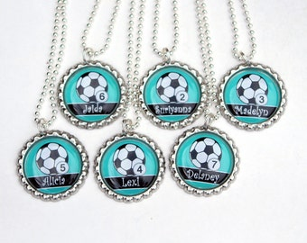 Girl Soccer Party Favors Sports Party favors for girls Birthday Gifts Soccer Necklace - Custom Name Color