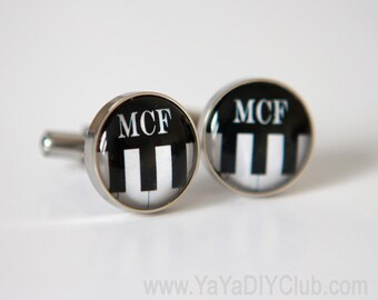Piano Teacher gift, Gift for musician, Gift for music teacher, Gift for music lover, Piano Keys Cuff Links Personalized Custom Initials