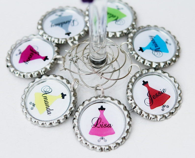 Bridesmaid Wine Glasses Charms Personalized wedding wine image 0