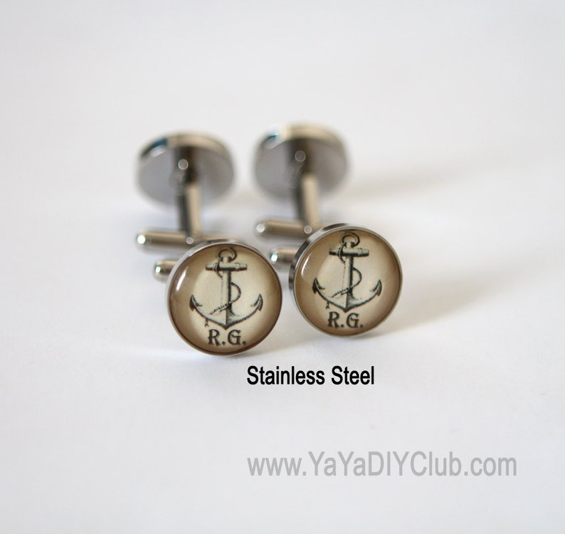 Anchor gift Anchor cuff links Nautical gift Personalized image 0