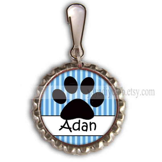 Personalized Zipper Pulls Backpack Zipper Pull Charm Dog Paw Charm Back To School Party Favors Bottlecap Zipper Pull Charm