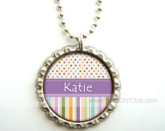 Personalized bottle cap necklaces, Gift for girls, Personalized necklace, bottle cap necklace - polka dots stripes Purple