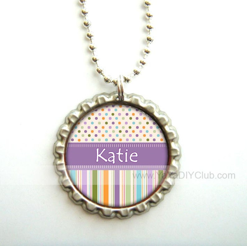 Personalized bottle cap necklaces Gift for girls image 0