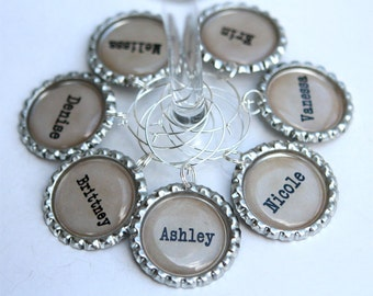 Personalized Wine Charms, Bachelorette Party Favors, Bridal Shower Favors,Wedding Wine Charms - Vintage Style Typewriter Letter