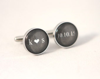dark gray Wedding Cuff links Personalized Groom gift, Personalized Cuff links,wedding keepsake Gift for Groom