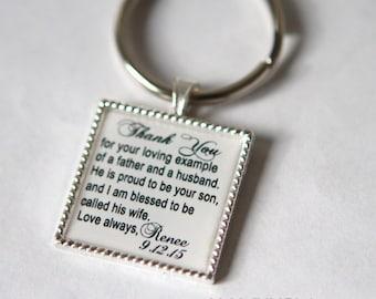 custom keychain, father of the groom keychain,Father of groom gift, father in law wedding gift for father in law, personalized keychain