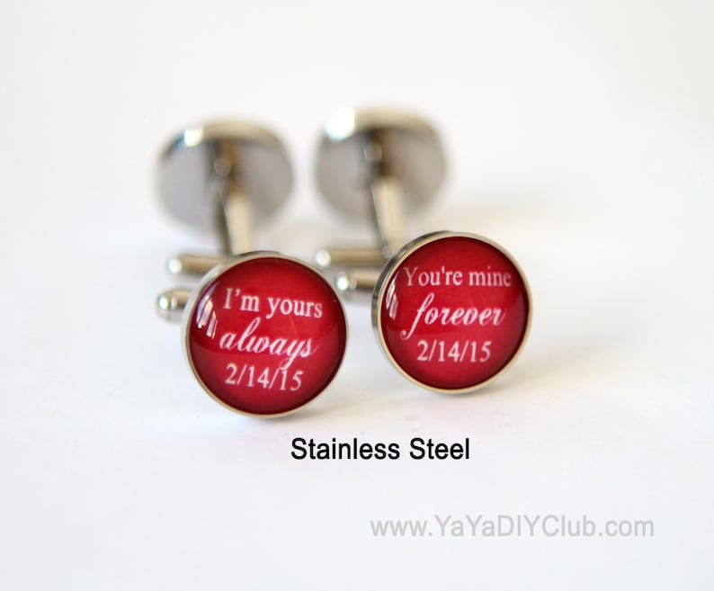 Red Wedding Gift for him Groom cufflinks  I am yours and you image 0