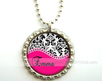 Personalized Stocking stuffers girls Party Favors - Pink Damask bottle cap necklace personalized necklace, Personalized gift for kids