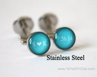 Wedding Cufflinks Custom Color Date Initials - Blue Wedding Cufflinks Unique Groom Gift, Best Man Gift
