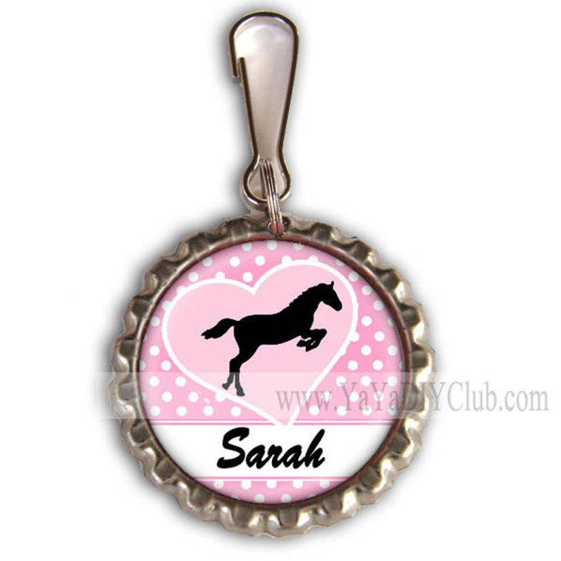 Personalized Gift for girls Personalized zipper pull charm  image 0