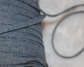 20 yards light denim blue Spaghetti Strap Tube tubular hollow poly ties non Stretch Cord cording string 1 4 quot wide