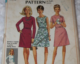 UNCUT Vintage 1960s 1967 Simplicity 7502 Sewing Pattern Mod Belted A-Line Dress half Size 16.5 Bust 39