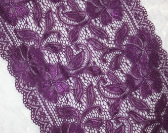 """2 yards  purple grape STRETCH Sheer lingerie lace galloon 8"""" 8.5"""" extra wide"""