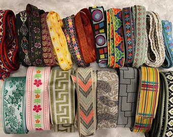 """Lot 40 yards assorted jacquard woven embroidered sewing trim ribbon 3/8""""-1.25"""" wide"""