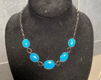 Sterling silver and dragon mountain turquoise bead necklace