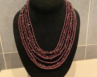 Mine finds Jay King dark red garnet 7 strand bead necklace