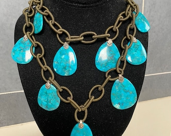 Amy Kahn Russell turquoise pendant statement necklace