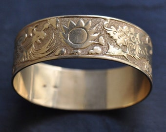 RARE 14k Solid Gold Vintage Hawaiian bracelet - dragon and phoenix with sun - One of a Kind!