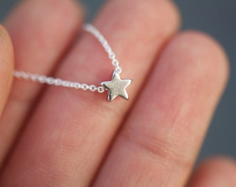 Gold Tiny star charm necklace on delicate sterling silver chain READY TO SHIP