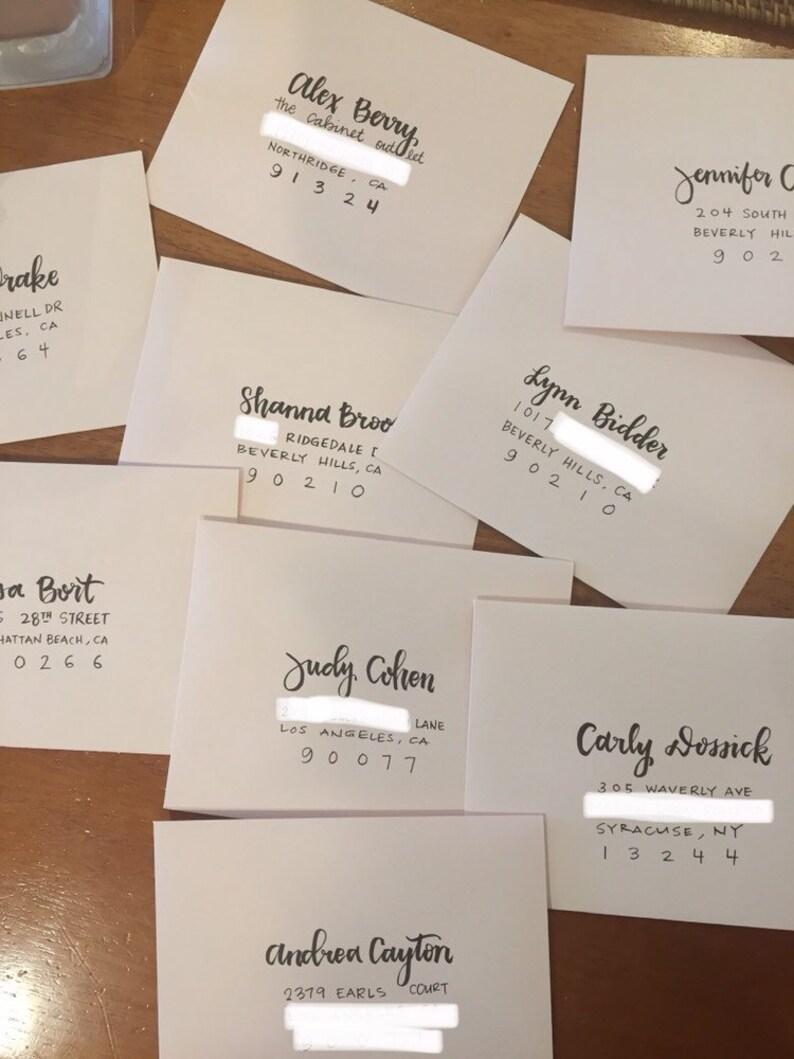 modern calligraphy hand addressed envelopes for wedding or event