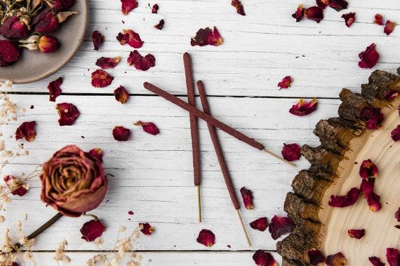 Rose Incense Sticks - Hand-Rolled Organic Herbal Incense - All Natural  Incense 3, 6 or 12 - Red Rose Petal Encens, Insence, Insense, Inscent