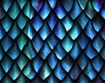 "Celtic Blue Fury Dragon Scales - In the Beginning - Jason Yenter - 1 Short Yard  (32"")"