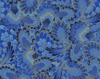 Kaleidoscope Abstract Endpaper in Denim - Timeless Treasures - 1 yard - More Available