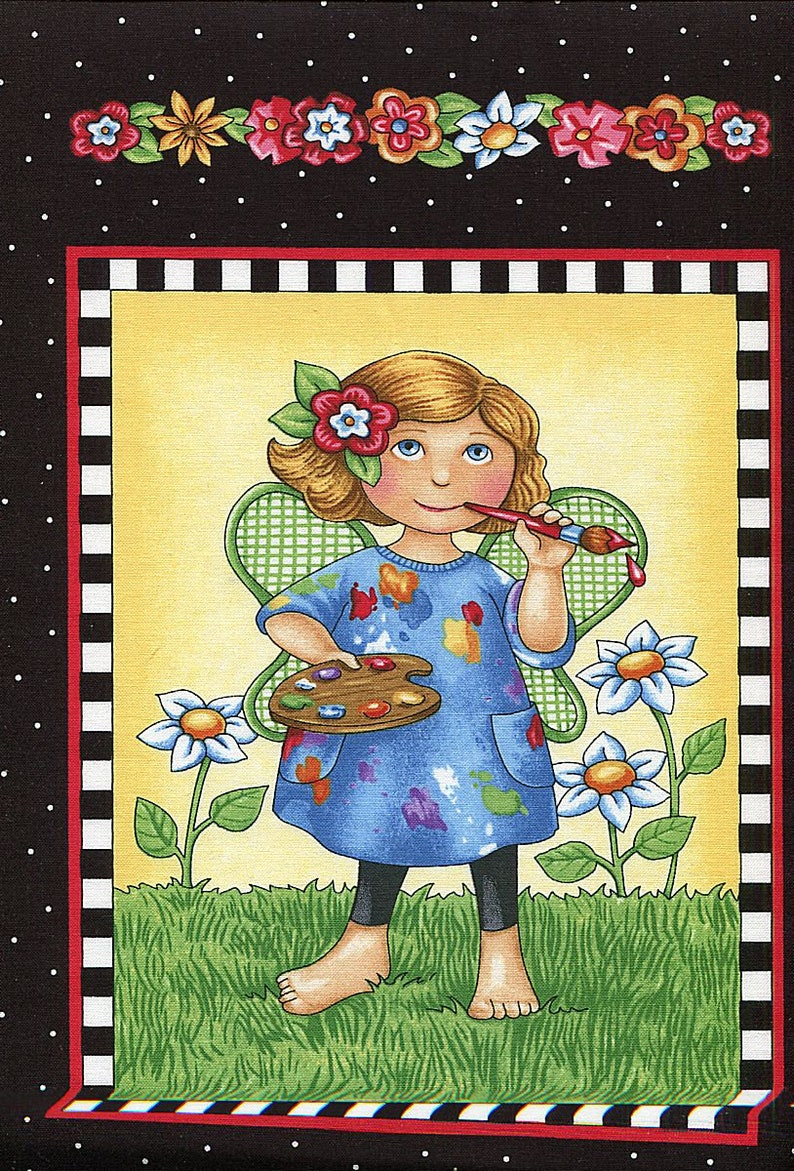 """FABRIC PANEL Quilting Treasures ~ MARY/'S JOURNEY ~ Mary Engelbreit  24/"""" X 45/"""""""