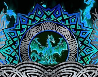 Celtic Blue Fury Dragon Border Stripe - In the Beginning - Jason Yenter - 1 Yard - More on Order - By the Yard
