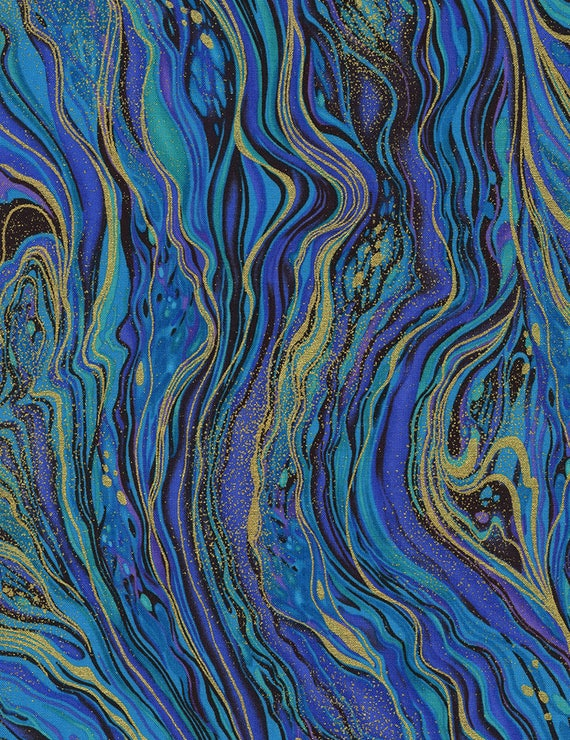 PEACOCK ENDPAPER SWIRL  by Timeless treasures 100/% cotton fabric metallic detail