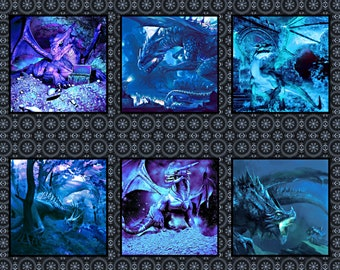 Celtic Blue Fury Dragon Blocks - In the Beginning - Jason Yenter - 1 Yard Panel - More Available - By the Yard