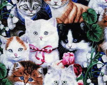 Valentine's Kittens - David Textiles - 1 yard - More Available - BTY