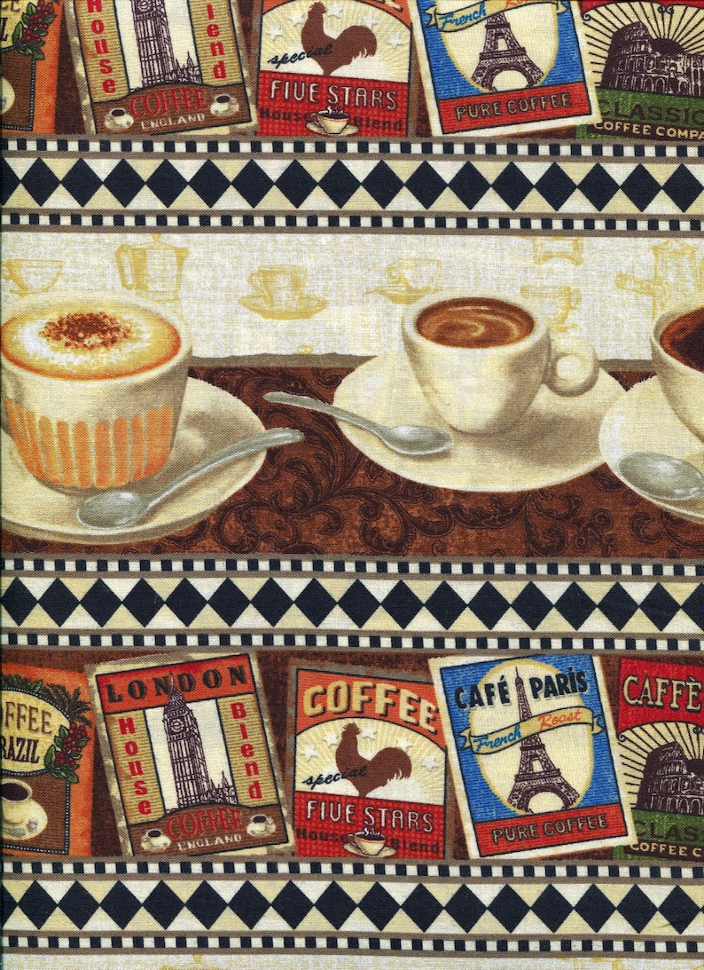 Brown ~ South Seas Imports ~ 100/% Cotton~Fabric Sold BTY Coffee Labels Fabric