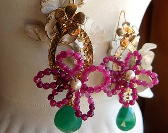 Quartz and goldfill vintage findings earrings