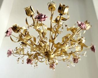 Gold leaf hand forged wrought iron 8 lights gold leaf chandelier, sputnik pink ceramic roses
