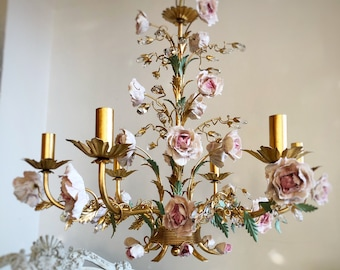 Porcelain peonies Italian hand forged wrought iron 6 lights gold leaf chandelier with crystals
