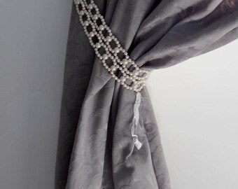 """on sale Long 35.43"""" Decorative double tie backs with faux pearls, curtain holders, drapery holders"""